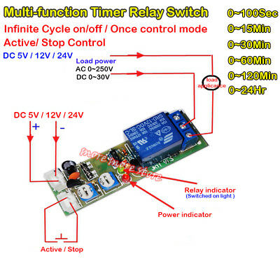 Adjustable Infinite Cycle Dc5v 12v 24v Loop Delay Timer Relay Switch Turn On Off
