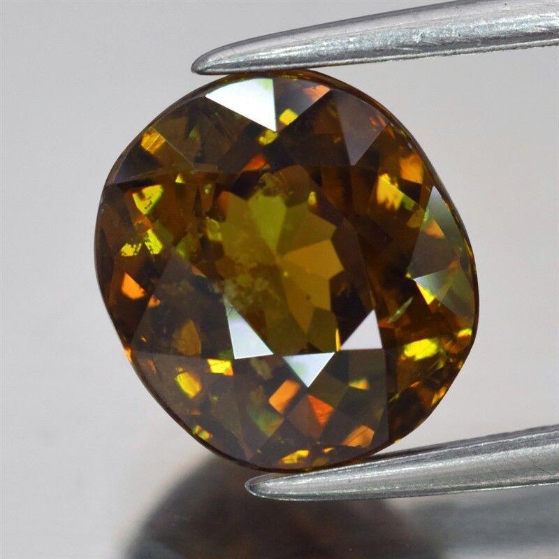 Rare! 2.69ct 8.2x7.4mm Oval Natural Medium Greenish Yellow Demantoid Garnet