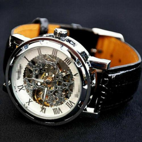 Luxus Edelstahl Leder Skelettuhr Herrenuhr Automatik Mechanische Armbanduhr DE