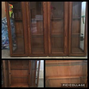 Reduced!!  Solid Oak Cabinet and Hutch needs a new home!