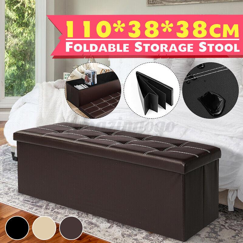 """660lbs 43"""" Ottoman Seat Bench Storage Large Folding Faux Lea"""