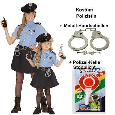 Polizistin Polizei Kinder Kostüm für Mädchen + Handschellen + Polizeikelle ()
