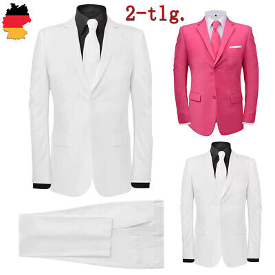 Herren Anzug 2-tlg. Business Jacke Hose Slim Fit mit Krawatte Gr.46-56 Weiß/Rosa