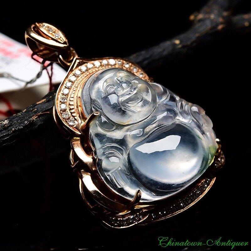 Certified Burma Grade A Ice Jadeite Jade Rose Gold Laughing Buddha Pendant #2134