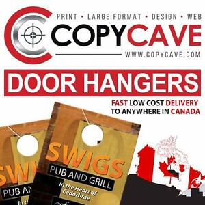 DOOR HANGERS - Canada's LOWEST prices - Cheap door hanger printing rates, top quality *** $20 OFF Coupon code ***