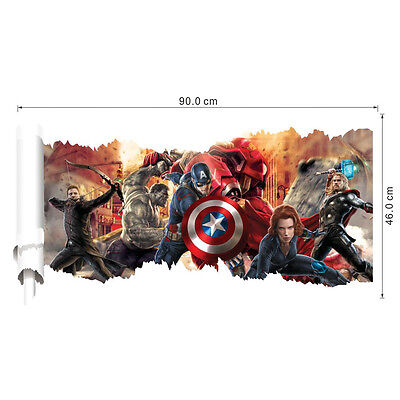 The Avengers Captain America Removable 3D Wall Sticker Wall Decal Home Decor USA (Avengers Decor)