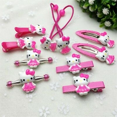 10 Pcs Hello Kitty Anime Girl Hair Band Brooch Clip Ring Accessories Birthday (Kitty Accessories)