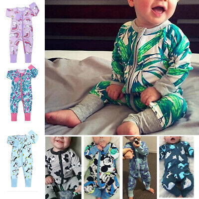 Newborn Baby Boys Girls Long Sleeve Zipper Romper Jumpsuit Clothes Outfits Sets