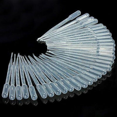 100pcs 3ml Disposable Plastic Eye Dropper Set Transfer Graduated Pipettes To