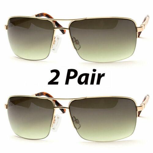 2 Pair Men Classic Sunglasses Metal Driving Glasses Aviator