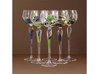 Paul Nagel Romantic Poetry Large Handmade hand Painted Wine Glasses x6 at kode-store