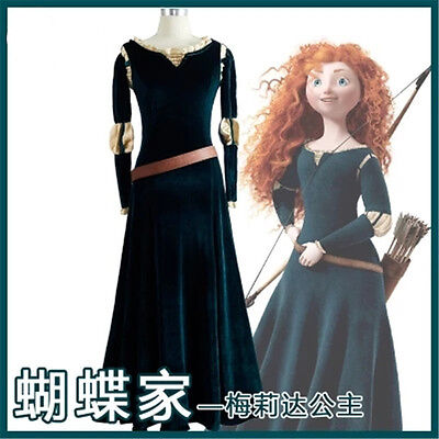 Merida Princess Dress Brave Legend Halloween Party Cosplay Costume Women Outfit