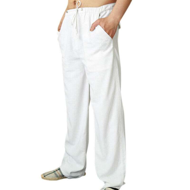 Men Solid Straight Leg Loose Pants Drawstring Jogging Lounge Trousers Bottoms Clothing, Shoes & Accessories