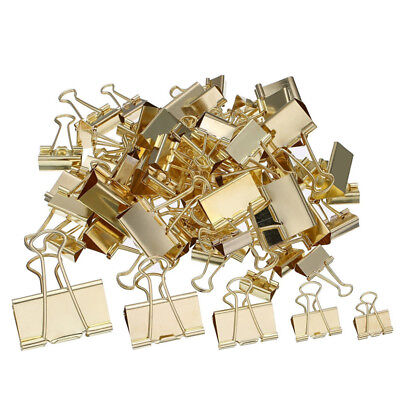 Bulldog Clip Gold Assorted Sizes Foldback Folding Spring Paper Office Holder Lot