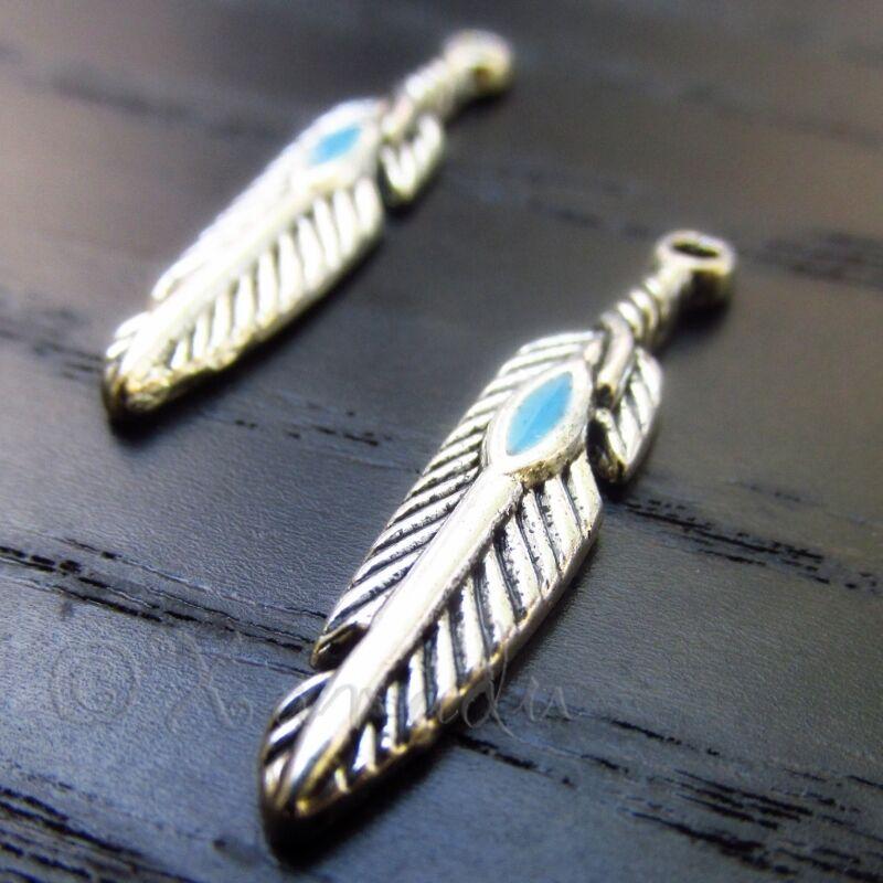 Silver Feather Turquoise Enamel Wholesale Charm Pendants C0241 - 10, 20 Or 50PCs