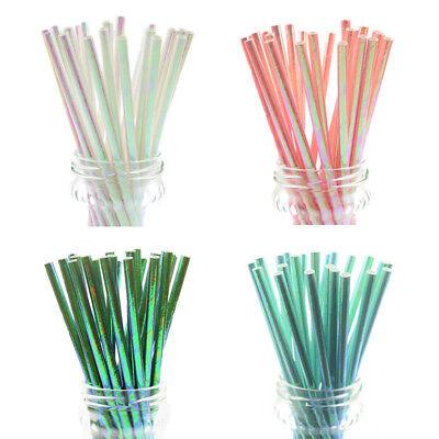 Iridescent Rainbow Paper Straws Drinking Straws Cake Pop Sticks Party DIY Xmas - Iridescent Paper