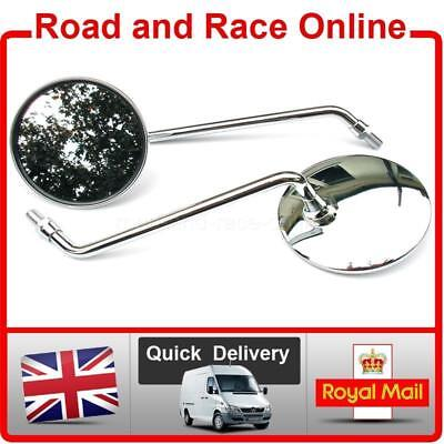 <em>YAMAHA</em> CLASSIC ROUND CHROME MOTORCYCLE MIRRORS PAIR LEFT  RIGHT 10MM