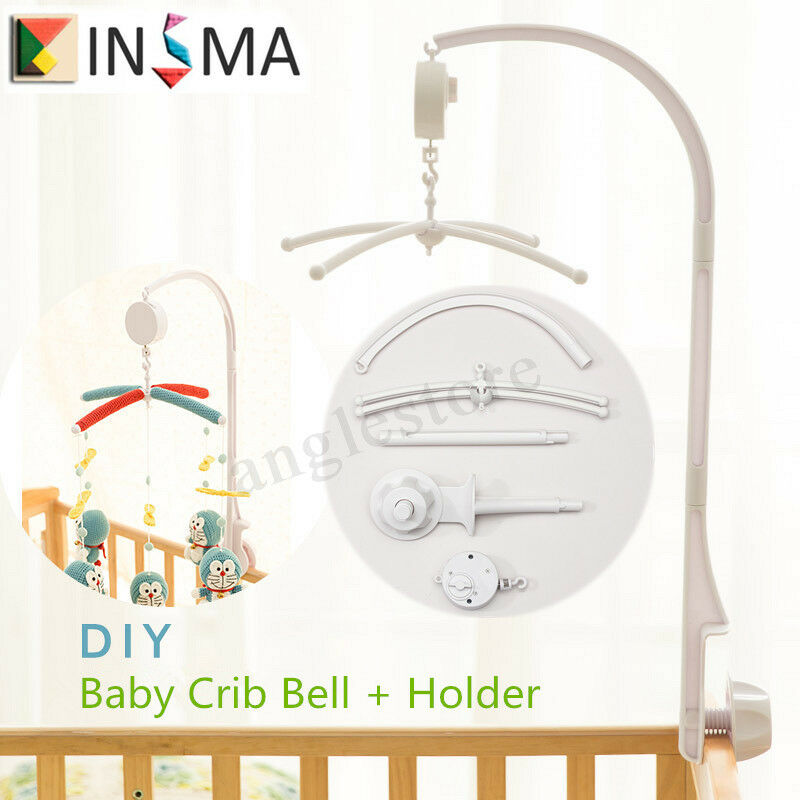 INSMA 4Pcs Baby Crib Mobile Bed Bell Toy Holder Arm Bracket Wind-up Music Box