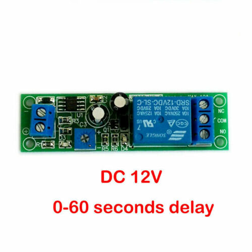 1PC 12 VDC ADJUSTABLE ON DELAY TIME 0 TO 60 SECONDS 10 AMP RELAY BOARD USA !!