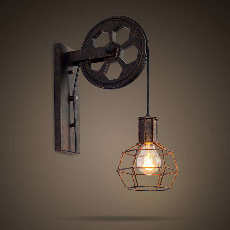 Rustic Wall Lamp Sconce Gear