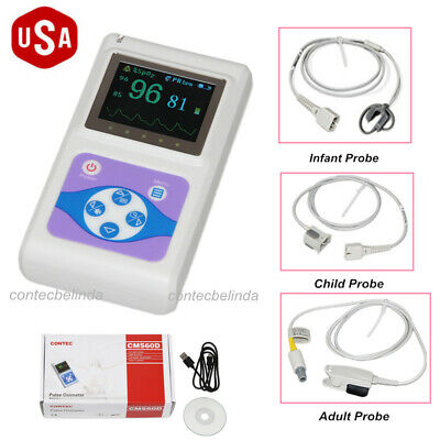 Cms60d Handheld Pulse Oximeterspo2 Monitor Adultchildinfant Probe Newest Usa