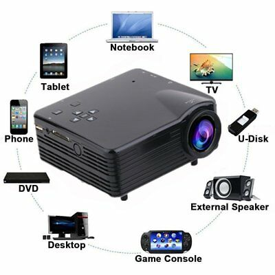 4K Full HD 1080P LCD Projector LED Multimedia Home Theater USB HDMI 7000 Lumens