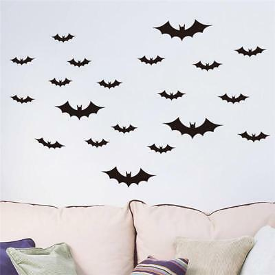 20Pcs Halloween Flying Bats Wall Stickers Room Decoration Home Decor Mural Lwx