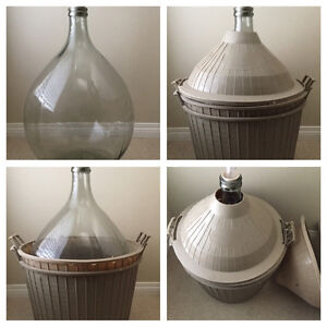 54liter glass Demijohn carboy with 2 covers-Made in Italy