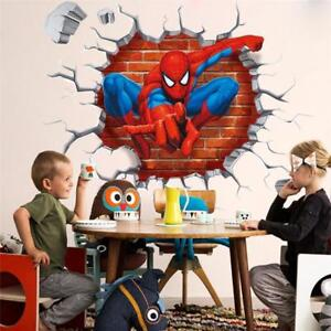 3D Crack Spiderman Wall Stickers Avengers Marvel Superhero Boys Bedroom Decal UK