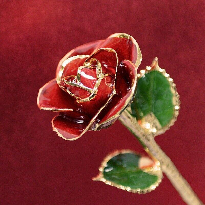 24k Gold Dipped Red Rose New In Original Box. Steven Singer #GR0YP00002