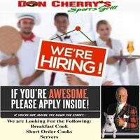 Wanted: Breakfast Cooks, Short Order Cooks, Servers