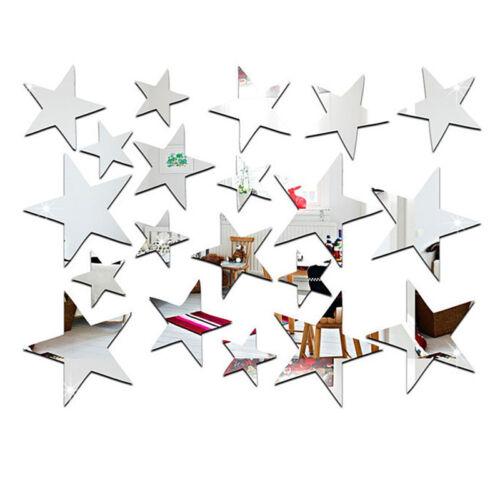 20x Star Art Removable Mirror DIY Decal Vinyl 3D Acrylic Wall Sticker Home Decor