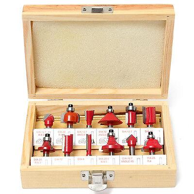 12pcs Diy 14 Shank Tungsten Carbide Router Bit Set Wooden Case Tool Kit Box