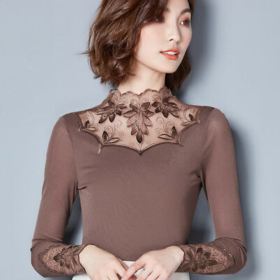 Autumn Winter Elegant Womens Ladies Long Sleeve Slim Lace Mesh Shirt Blouse Tops