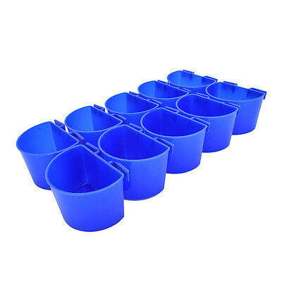 10x Cup Hanging Water Feed Supplies Cage Cup For Poultry Gamefowl Rabbit Chicken