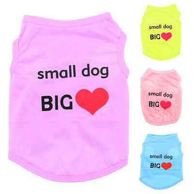 Summer Small Dog Big Heart Print Dog Puppy Doggie Vest Pet Clothes Costume Cheap