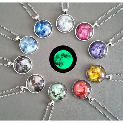 Glow In The Dark Moon Necklace Galaxy Planet Glass Cabochon Pendant Necklace  - Glow In The Dark Jewelry