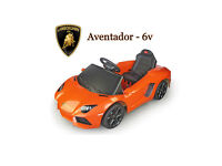 Licensed Aventador 6V Electric Battery Powered Ride on Car - White - Orange