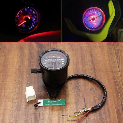 UK Motorcycle Dual Odometer Speedometer Gauge LED Background Light Universal 12V