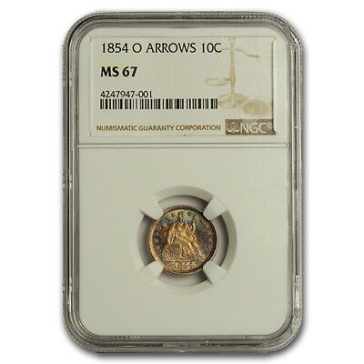Click now to see the BUY IT NOW Price! 1854 O LIBERTY SEATED DIME W/ARROWS MS 67 NGC