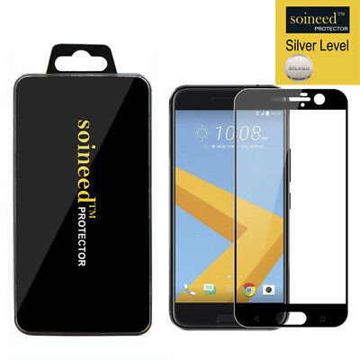 SOINEED Intact COVER Tempered Glass Screen Protector For HTC 10 / M10 BLACK