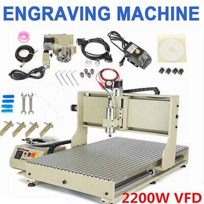 Usb 4 Axis 6090 Cnc Router Engraver 2200w Vfd Milling Machine Ball Screws 1605