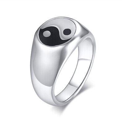 Fashion Men Signet Ring Tai Chi Yin Yang Bagua Silver Stainless Steel Biker (Fashion Signet Ring)