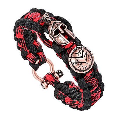 Brave Outdoor Survival Bracelet Men's Skull Spartan Helmet Nylon Rope - Spartan Jewelry