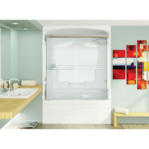 Mirolin BD56 Bypass Shower Door Plain Silver