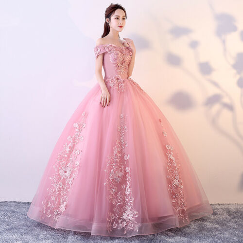 Women/'Sweet Cocktail Sweet Prom Dress Sleeveless Lace Mesh Bubble Ball Gown Pink