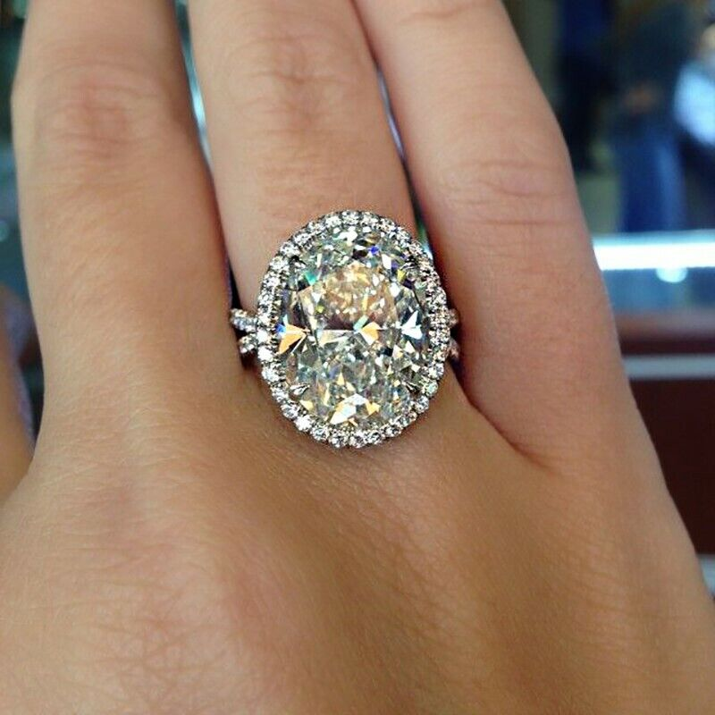 GIA Certified Diamond Engagement Halo Style Ring 4.17 carat Oval Cut 18k Gold