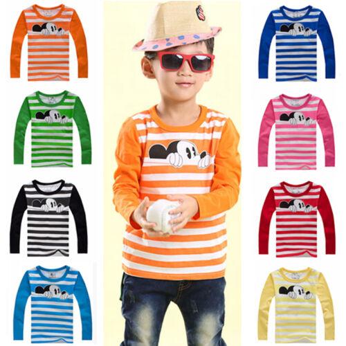 bambini Mickey maniche lunghe T-Shirt Ragazzo Maglione Maglietta a righe maglia