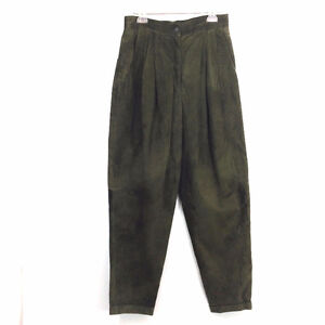Suede Leather Pants Dark Olive Green Pleated Danier Womens 12