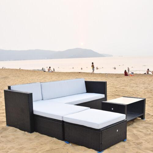 Garden Furniture - Black Rattan Outdoor Garden Corner Sofa Set Lounger Table Patio Furniture 5 Seat